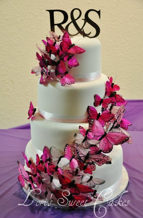 Pink Butterfly Wedding Cake Butterfly Themed Wedding