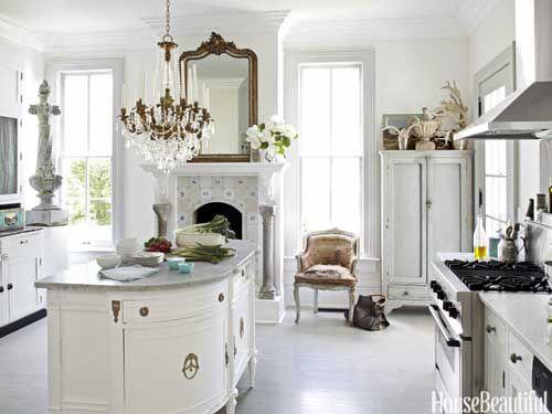 A beautiful white kitchen - antique island