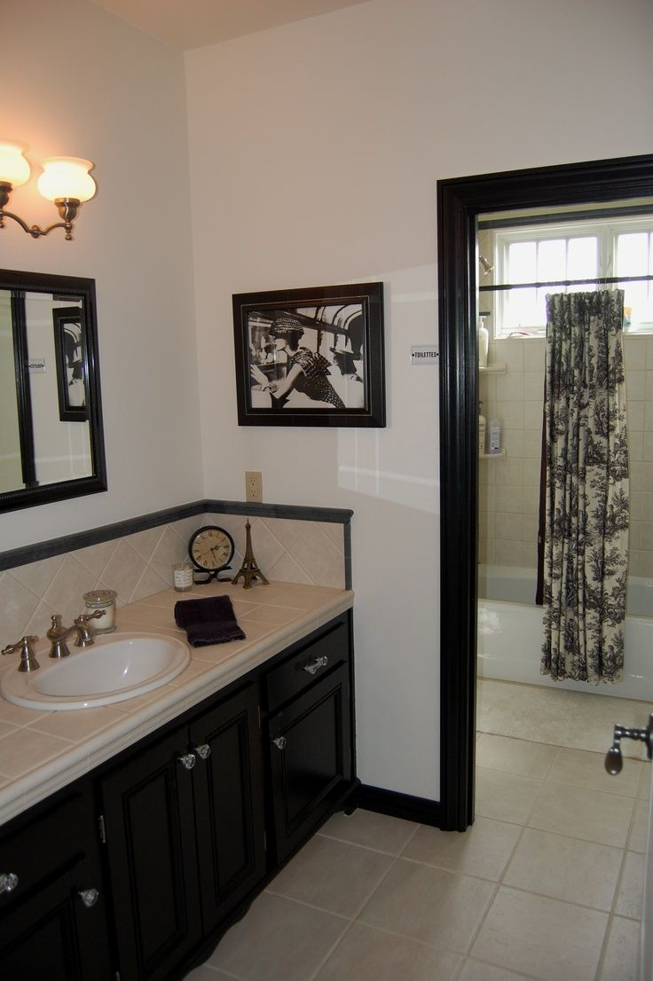 French Toile Bathroom Curtain French Country Bathroom In Black Amp White Inspired By The Toile