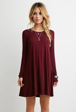 French Terry Trapeze Dress | Forever 21 • fall dresses. long sleeve dresses.: