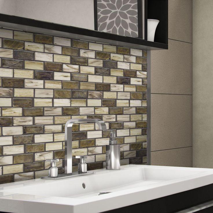 Elida Ceramica Melted Earth Brick Mosaic Glass Wall Tile