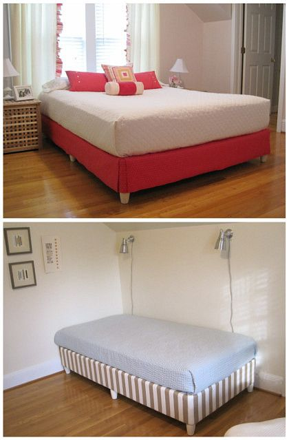 skip the bedframe : staple fabric to the boxspring then add furniture legs
