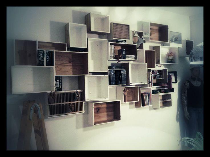Mijn muur van wijnkistjes wijnkistjes en palets pinterest