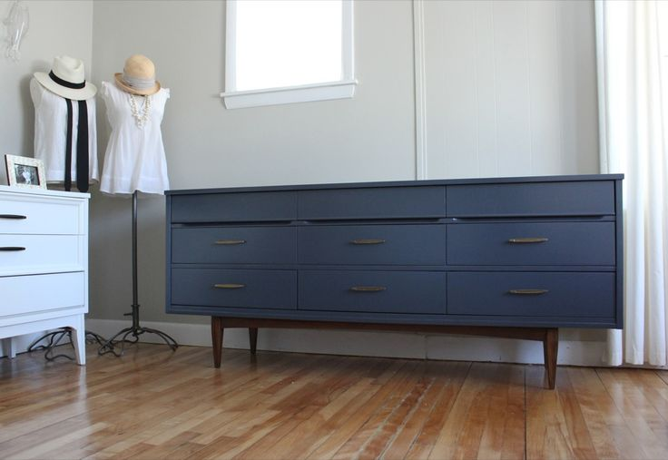 Bluelamb Furnishings Navy MCM Lowboy W Brass Pulls