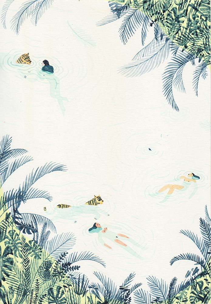 [ river / lake / spring ] paintings from the group showJust Swim!by Monica Tramos