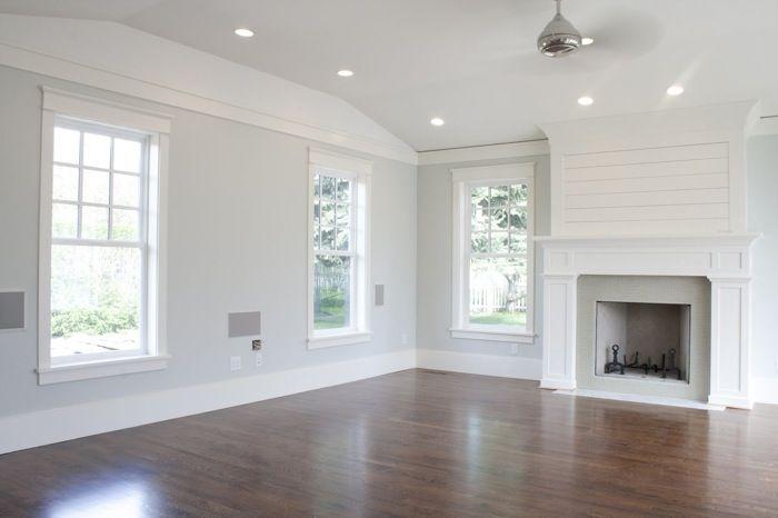 Den. Family Room. Living Room. Light Gray Walls With White