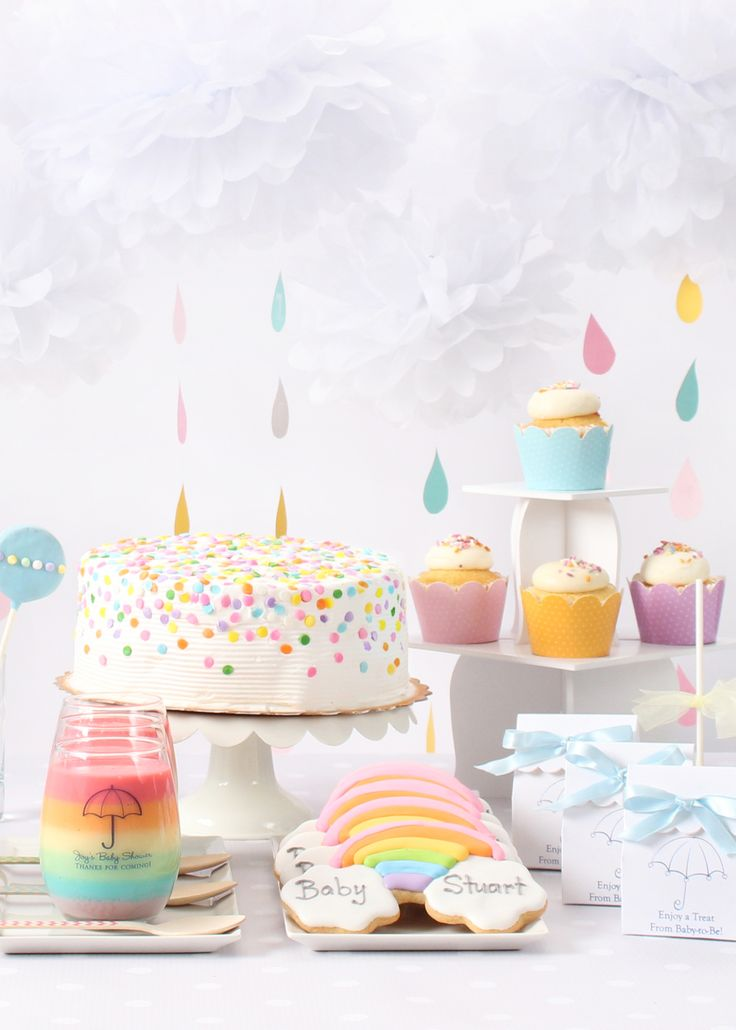 This is the sweetest storm! A rainbow and clouds themed baby shower is perfect for a boy, girl, or gender