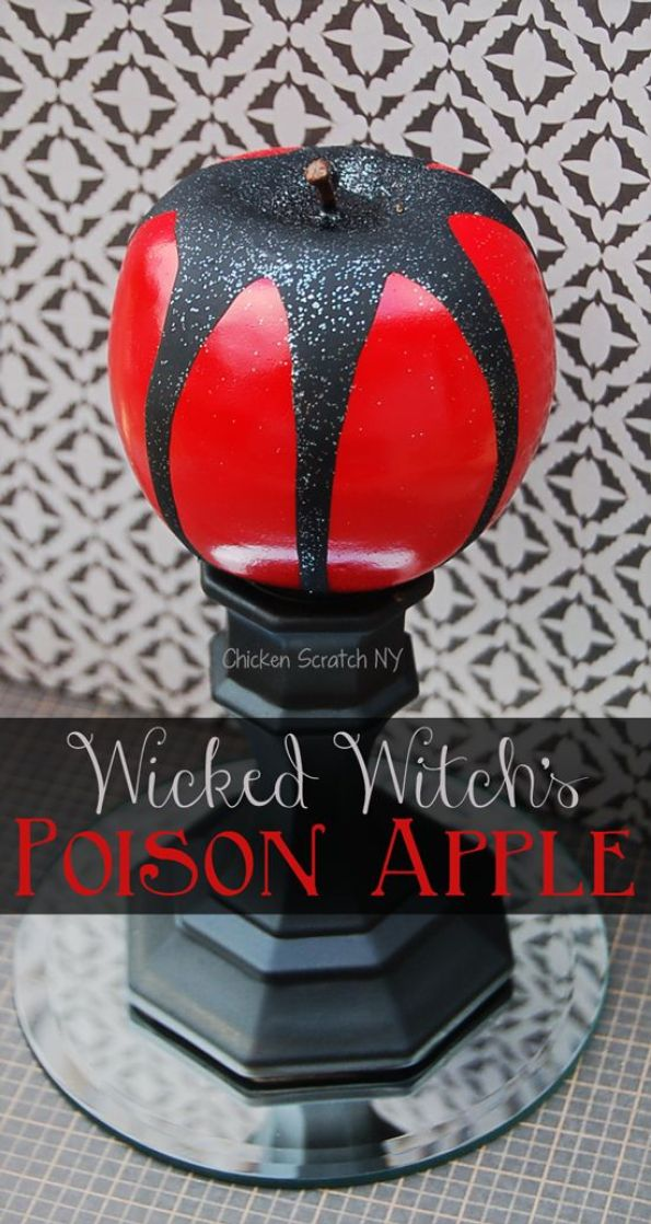 Make a DIY poison apple to decorate your Halloween table from Dollar store finds and a few basic craft supplies: