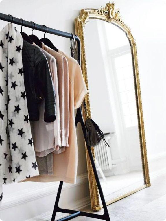 { garment rack + big beautiful mirror }: