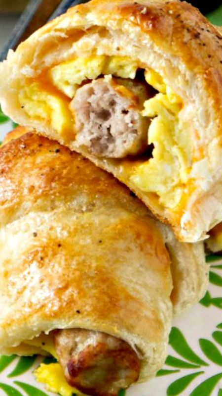 Sausage, Egg & Cheese Breakfast Roll-Ups ~ a quick, hearty, grab-and-go breakfast with these wrapped sausage bites.