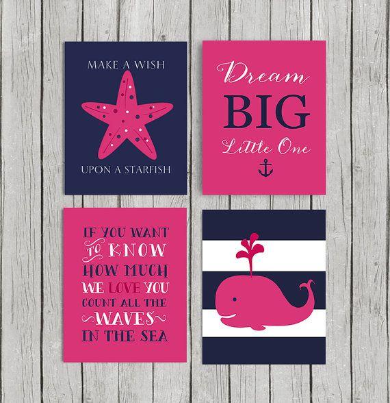Hot Pink Nursery Decor Baby Nautical Art Bedroom Navy Bedding Instant Donload