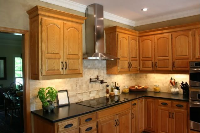 COUNTERTOP/BACK SPLASH: Combination of dark quartz ... on What Color Granite Goes With Honey Maple Cabinets  id=41094