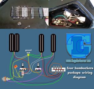 four humbuckers pickup wiring diagram – all hotrails and quadrail | Wiring & Pickups | Pinterest
