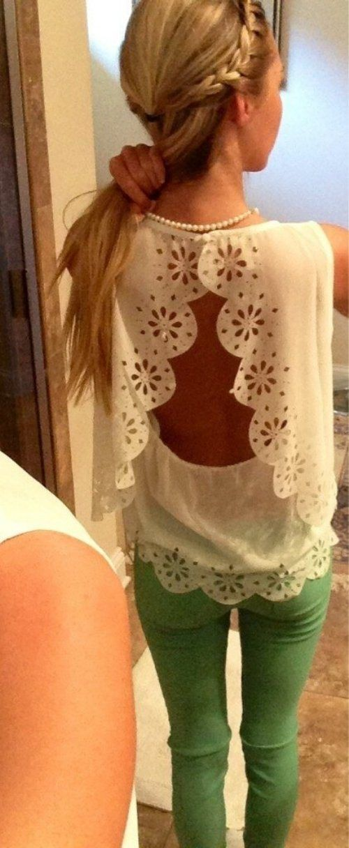 Open back lace top