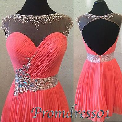 #promdress01 prom dresses – cute sequins coral tulle open back short prom dress – custom made ball gown, evening dresses for season