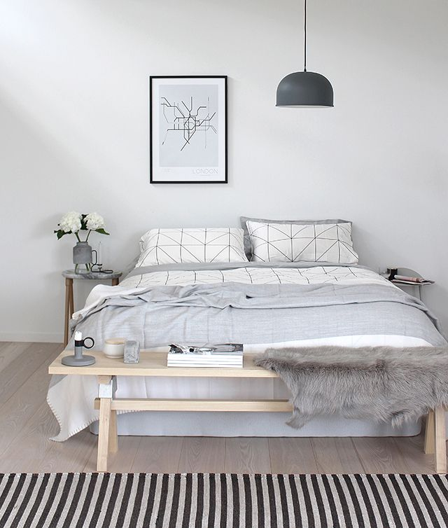 I love the look of a table at the end of the bed, however I feel it would be used as a place to store random items. Undecided!: