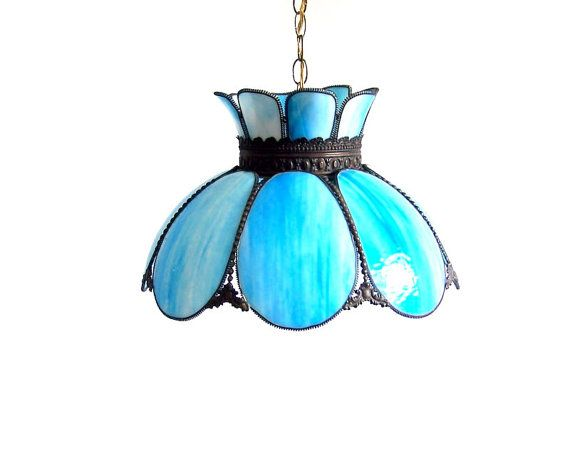 Vintage Stained Glass Lamp Tulip Swag Pendant Blue White