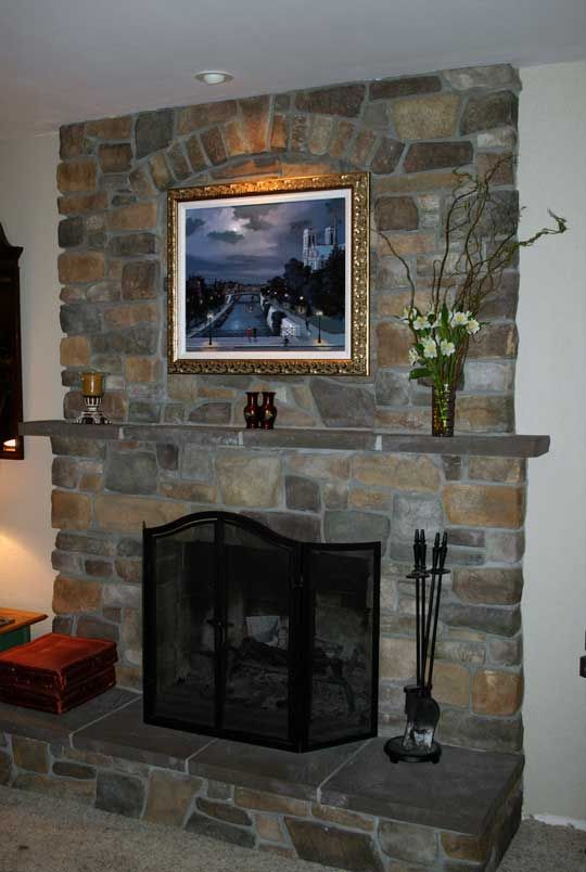 Fireplace Resurfacing With A Tv And Wood Stove Insert