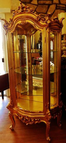 French Rococo Gold Gilt Curio Display Cabinet Armiore
