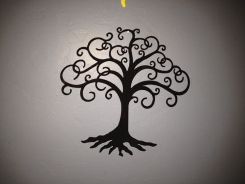Swirly Tree Of Life Black Metal Sculpture Wall Art Home