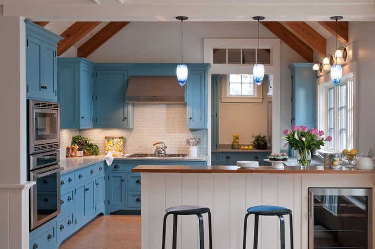 the farmhouse style cabinets by crown point cabinetry that are painted farrow ball stone blue on kitchen cabinets blue id=66652