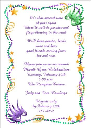 Ensure Your Mardi Gras Invites Include Details About The