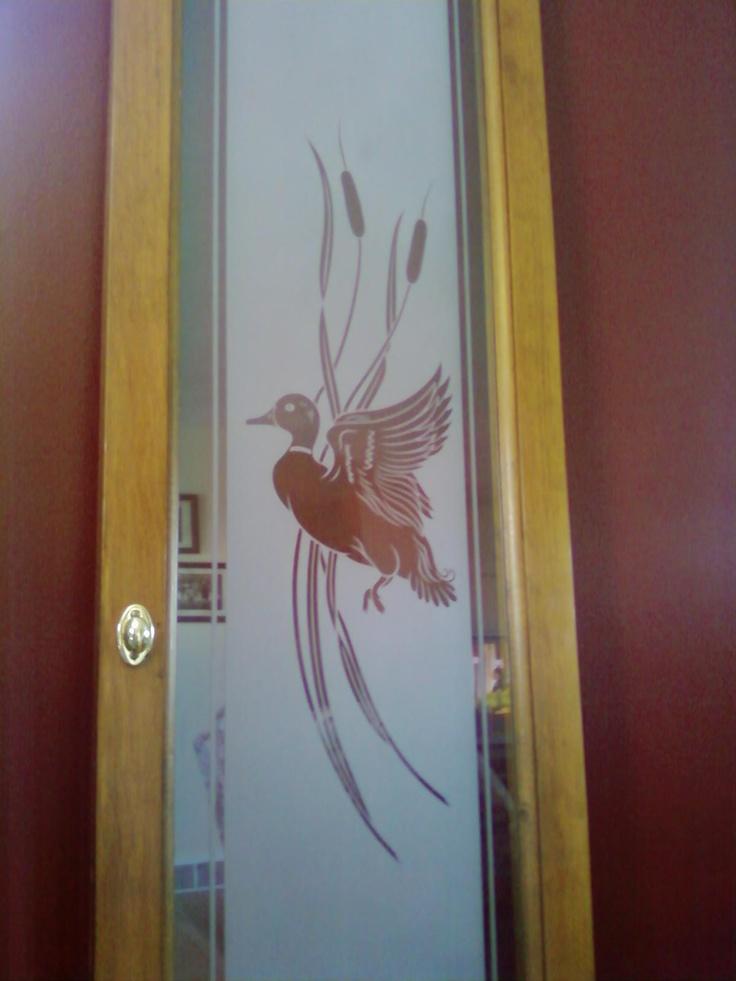 Cabinet Door With Etched Scene Of Duck In Flight Onto