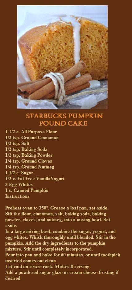 Starbucks Pumpkin Pound Cake. This recipe is supposed to be from Starbucks, but