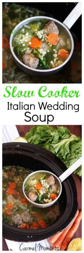 Slow Cooker Italian Wedding Soup - Authentic traditional soup. This recipe is easily made in the crock pot for a delicious homemade meal.:
