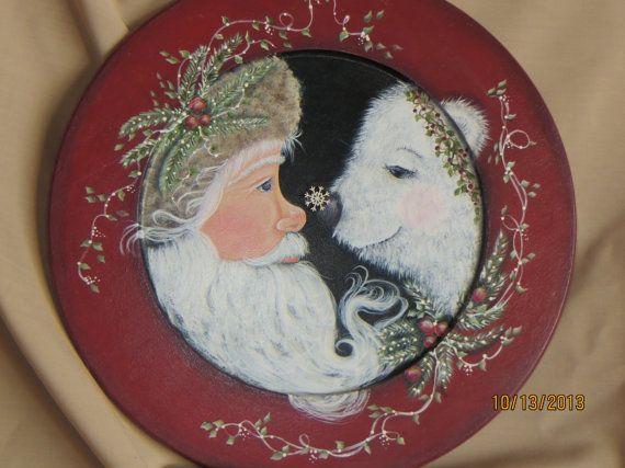 Santa With Polar Bear Painted On Round Wood Plate