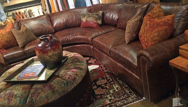 Brown Distressed Leather Sectional Sofa And Round Tufted