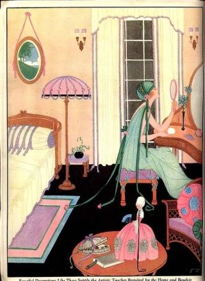 "From 1923 ""Ribbon Art"" magazine: How to design your boudoir in authentic 1920's design and colors! The black floor sets it all off."