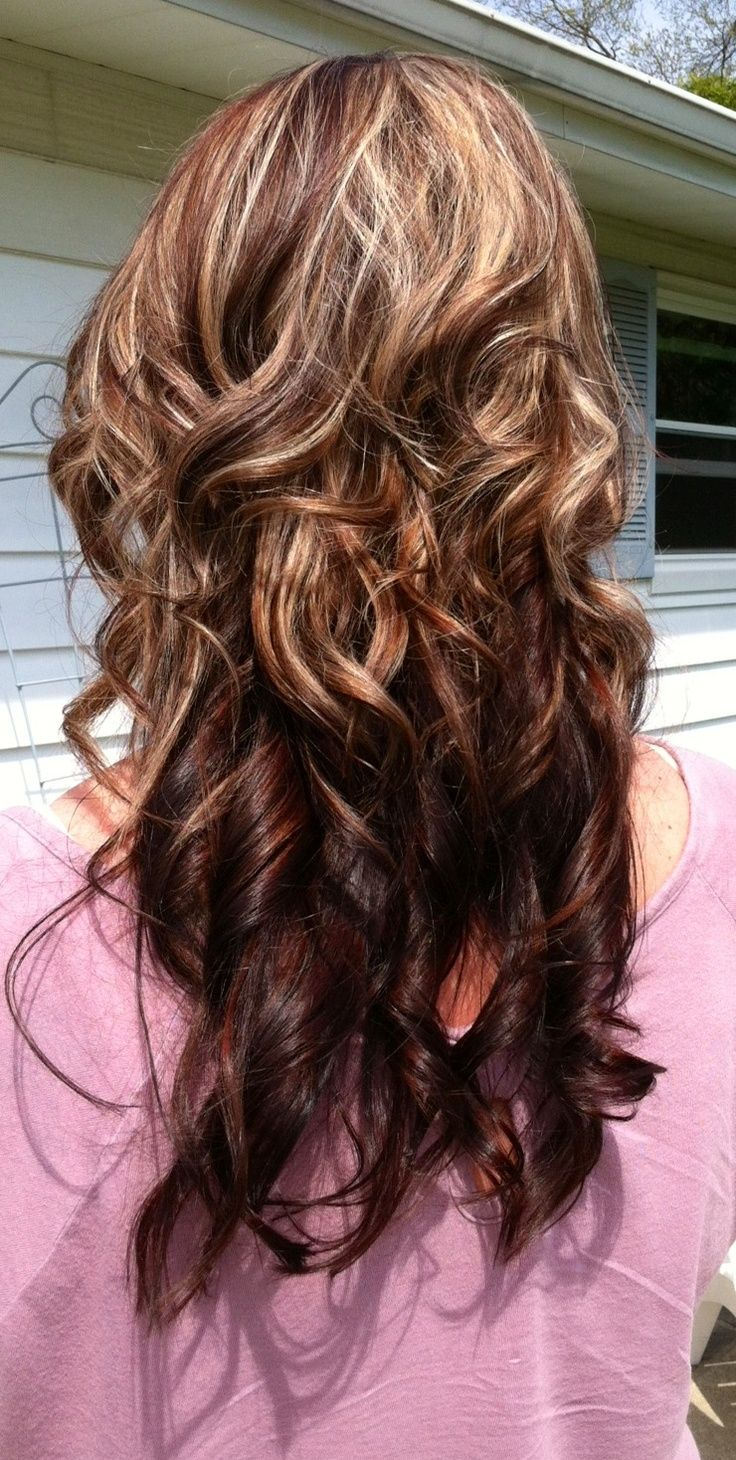 Dark Brown Hair with Caramel Highlights and Red Lowlights..Really considering doing this!!