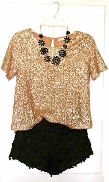 Sparkly gold blouse with bl