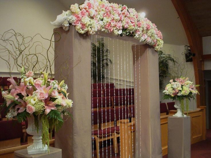 Pink Wedding Flowers Ceremony Flowers Church Indoor Decor