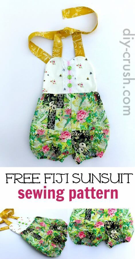 Sunsuit Pattern for babies up to size 6 girls. Sew this one for summer. Download it today before it's gone