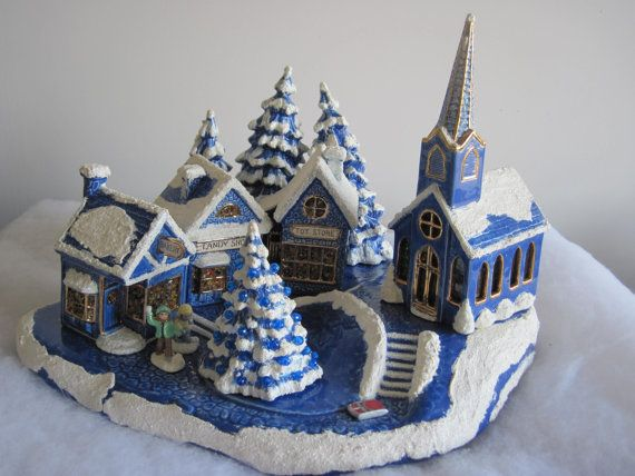 Vintage Blue And White Hand Made Ceramic Christmas Village