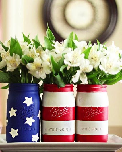 american flag mason jar vases Heaven knows I have the jars to do this…….