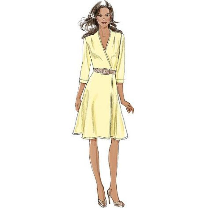 Vogue Patterns wrap dress sewing pattern that comes in A, B, C and D cup sizes. V8646.