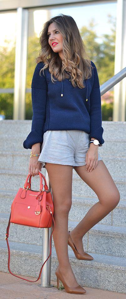 Pinstriped Shorts Outfit Idea by Mi Aventura Con La Moda #micheal #kors #purses