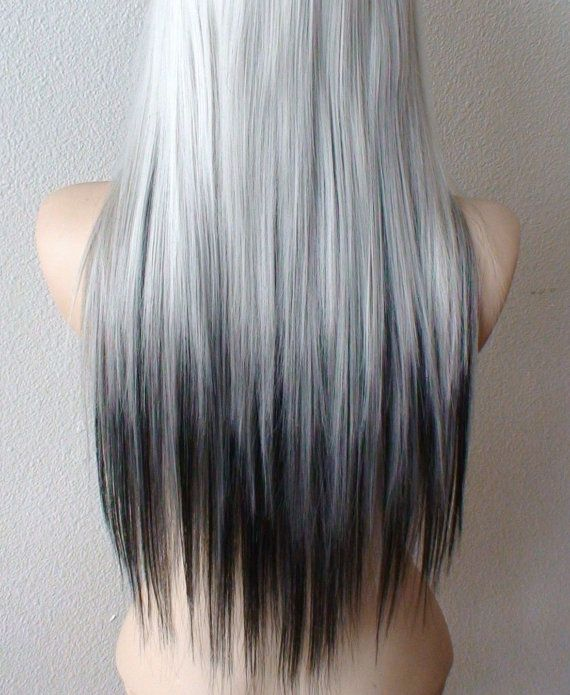 Ombre Wig Silver Black Ombre Wig Long Straight Fashion