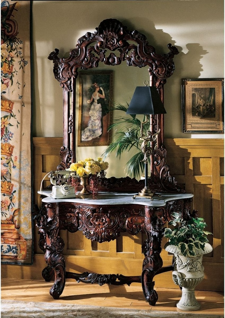 Hand Carved Solid Mahogany Antique Replica Hapsburg Mirror