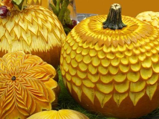 Tiered Pumpkin Carvings