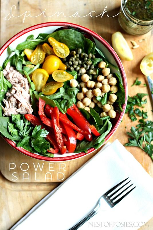 Spinach Power Salad. A bowl of greens with some healthy ...