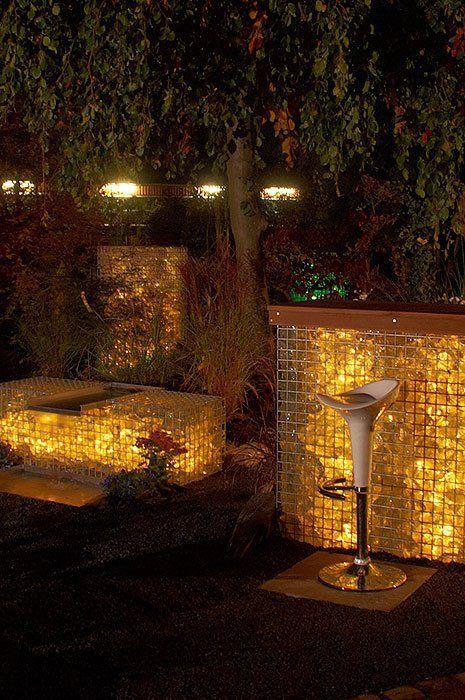 Illuminated Glass Gabion Walls Tuin Pinterest