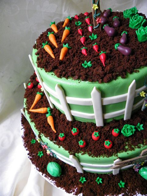 Very cute Garden Birthday cake by Wild Orchid Baking Co., via Flickr. Looks fairly simple–a good cake for a beginning cake