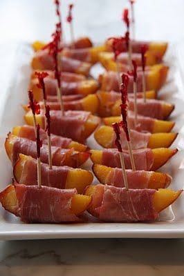 Grilled peaches wrapped in prosciutto.