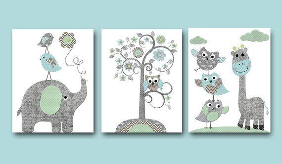Owl decor Giraffe Nursery Baby Boy Nursery Art Nursery wall art kids room decor Kids Art set of 3 8 x 10 elephant nursery tree