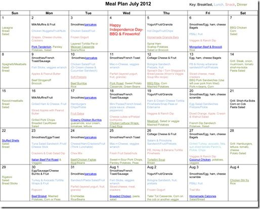 July Monthly Meal Plan Recipes By erica | Mom Stuff ...