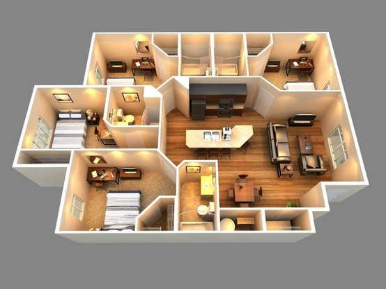 25 More 3 Bedroom Floor Plans House 4 And